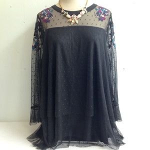 Boho Embroidered Sheer Layer Lined Top